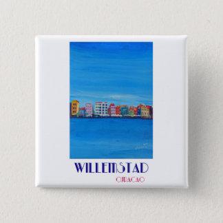 Poster retro Willemstad Curaçau Bóton Quadrado 5.08cm