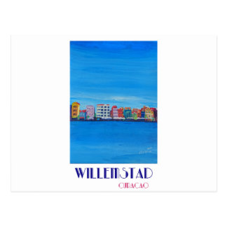 Poster retro Willemstad Curaçau Cartão Postal