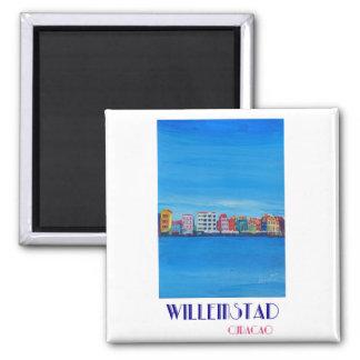 Poster retro Willemstad Curaçau Ímã Quadrado