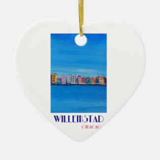 Poster retro Willemstad Curaçau Ornamento De Cerâmica Coração