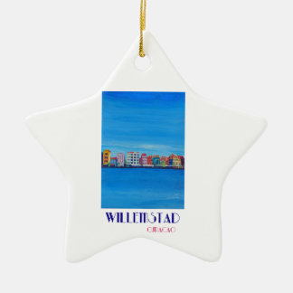 Poster retro Willemstad Curaçau Ornamento De Cerâmica Estrela