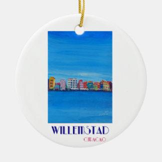 Poster retro Willemstad Curaçau Ornamento De Cerâmica Redondo