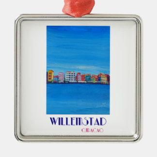 Poster retro Willemstad Curaçau Ornamento Quadrado Cor Prata