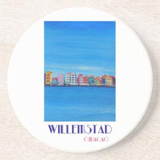 Poster retro Willemstad Curaçau Porta Copos De Arenito