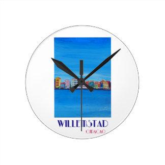 Poster retro Willemstad Curaçau Relógio Redondo