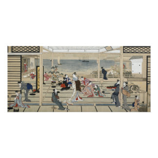 Pôster Revelry do luar em Dozo Sagami por Kitagawa Utama