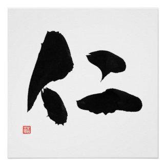 Pôster Righteousness do Kanji do samurai de Jin do 仁 do