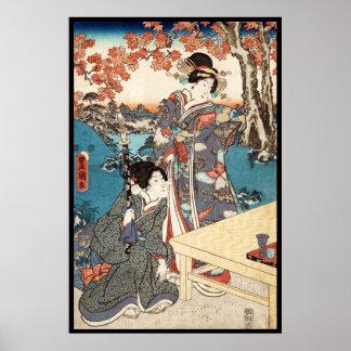 Poster Rolo velho da gueixa japonesa legal do ukiyo-e do