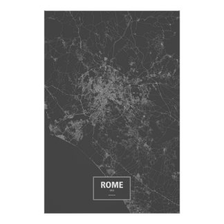 Poster Roma, Italia (branca no preto)