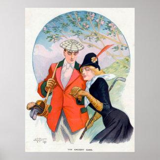 Poster romântico do casal do golfe