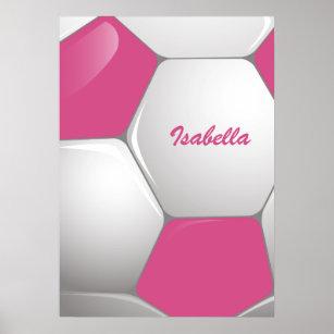 Poster Rosa customizável e branco da bola de futebol do 9fd01c4fa8979