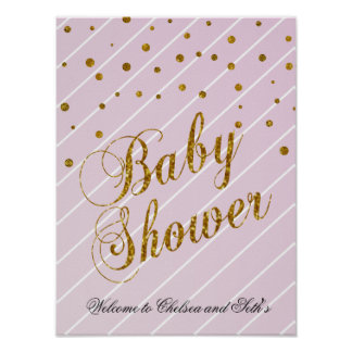 Poster Rosa de bebê doce e confetes do ouro