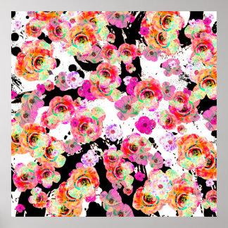 Poster Rosa e primavera do coral floral em preto e branco