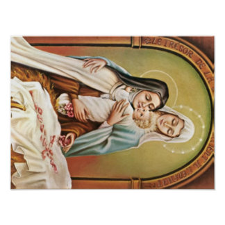 Pôster Rosas do comedoiro de Jesus do bebê de Mary da mãe