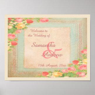 Poster Rosas elegantes do vintage que Wedding a boa vinda