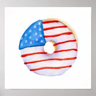 Pôster Rosquinha da aguarela da bandeira de América
