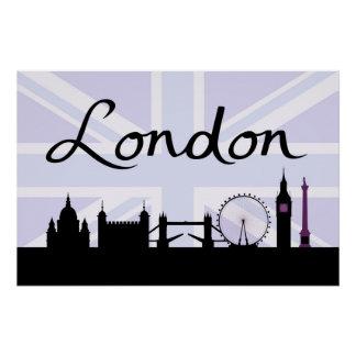 Pôster Roteiro de Londres no céu de Union Jack & locais