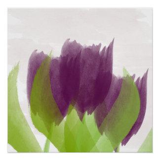 Poster roxo da arte da aguarela das tulipas do pôster