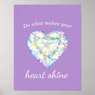 Poster roxo da arte do slogan do brilho do coração