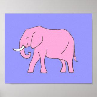 Pôster Roxo do rosa da arte do berçário do elefante do