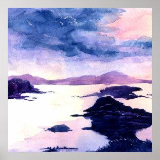 Poster roxo do Watercolour de Loch Lomond