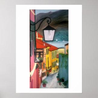 Pôster Rua da vila nos rosa, nos azuis e no amarelo