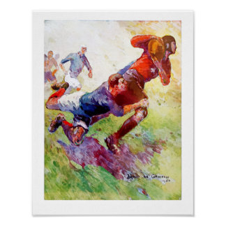 Poster Rugby do francês do vintage 1920 - Watercolour