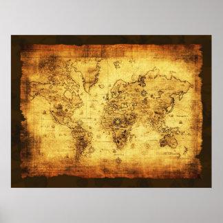 Poster rústico do mapa de Velho Mundo