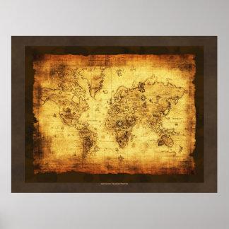 Poster rústico do mapa de Velho Mundo do Grunge Pôster