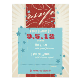 Poster rústico: RSVP Wedding vermelho, branco & az Convite Personalizado