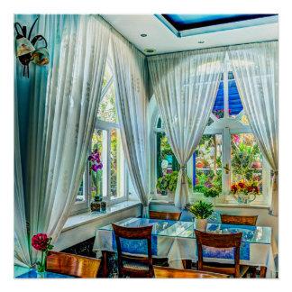 Pôster Sala de jantar com o poster exterior colorido do