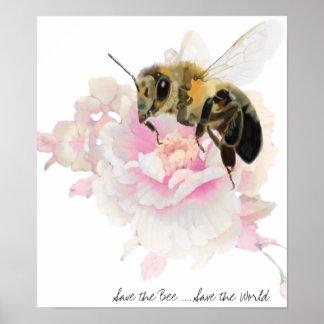 Pôster Salvar a abelha! Salvar o mundo! Abelha bonito
