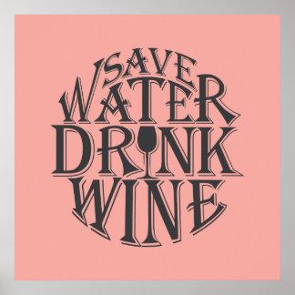 Poster Salvar a água e beba o design das citações do