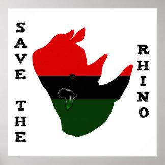 Poster Salvar o rinoceronte com branco do rasgo de África