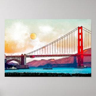 Poster San Francisco golden gate bridge. EUA, América