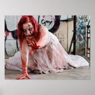 Poster sangrento da menina do apocalipse do zombi pôster