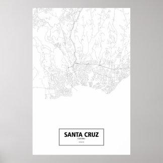 Pôster Santa Cruz, Califórnia (preto no branco)