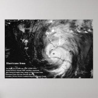 Poster satélite infravermelho da imagem de Irma do