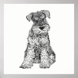 Pôster Schnauzer da arte do poster/parede do cão