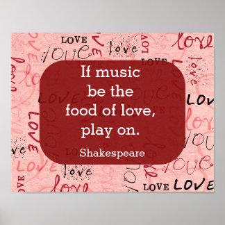 Pôster Se a música for as citações de comida-Shakespeare