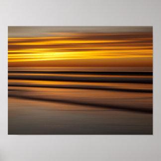 Poster Seascape abstrato no por do sol, CA