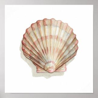 Pôster Seashell cor-de-rosa e de creme
