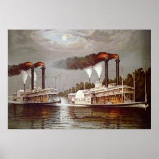 Pôster Século XIX da raça dos navios dos EUA