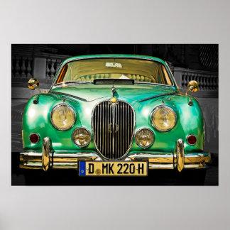 Pôster Sedan verde metálico clássico de Jaguar