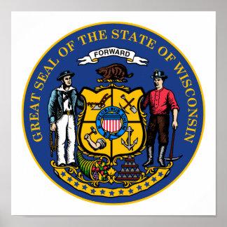 Poster Selo do estado de Wisconsin