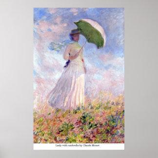 Pôster Senhora com o guarda-chuva por Claude Monet