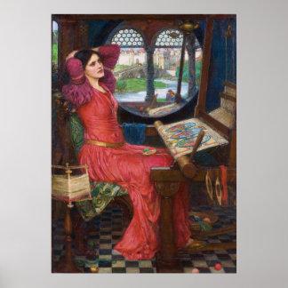 Pôster Senhora do Shallot por John William Waterhouse