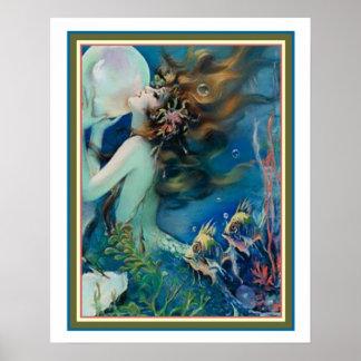 """Poster """"Sereia com o art deco da pérola"""" por Henry Clive"""