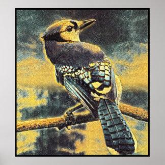 Poster Série estilizado de Jay azul - número 7