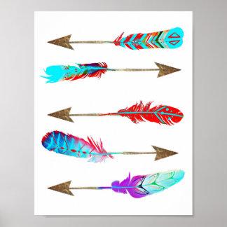 Pôster Setas boémias rústicas de néon coloridas da pena